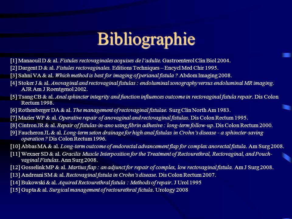 Bibliographie [1] Manaouil D & al. Fistules rectovaginales acquises de l'adulte. Gastroenterol Clin Biol 2004.